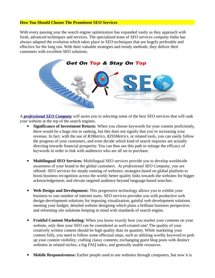 How You Should Choose The Prominent SEO Services