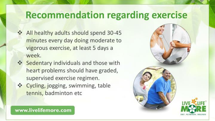 Recommendation regarding exercise