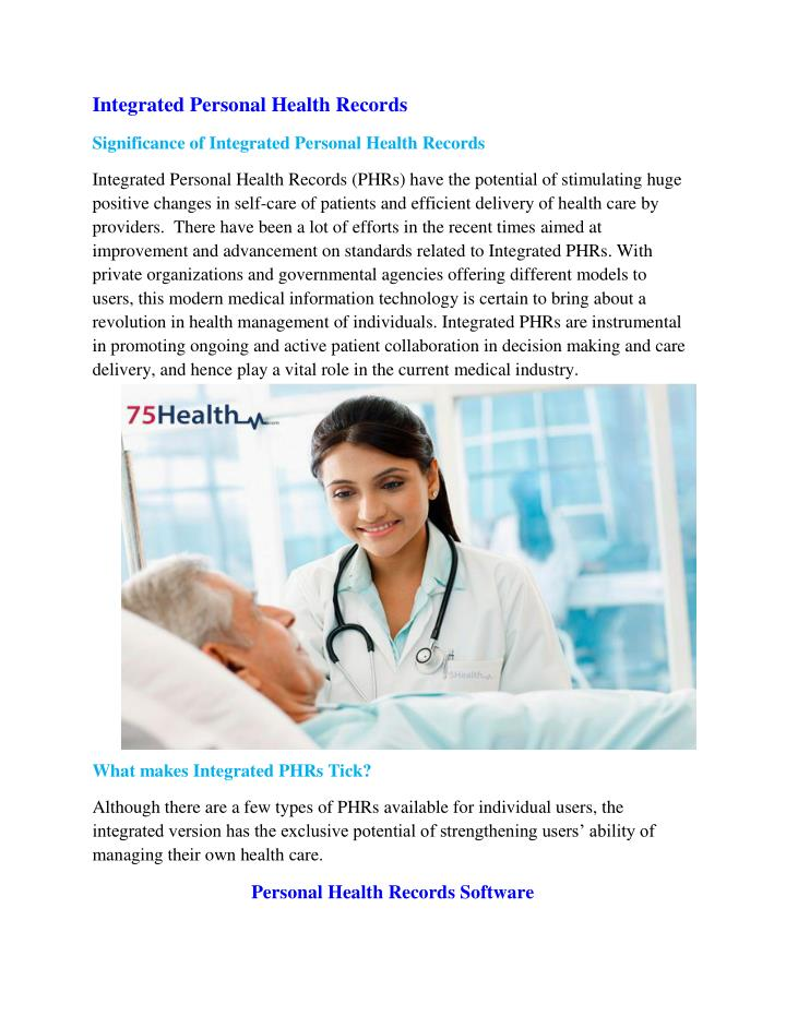 Integrated Personal Health Records