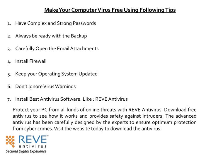 Make Your Computer Virus Free Using Following Tips