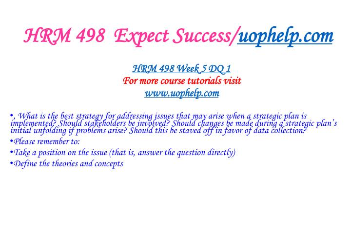 HRM 498  Expect Success/