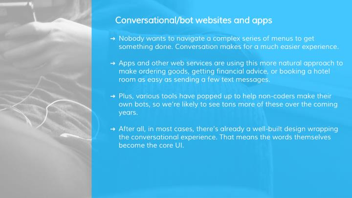 Conversational/bot websites and apps