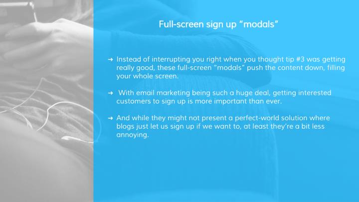 "Full-screen sign up ""modals"""