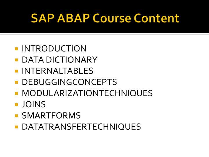 SAP ABAP Course Content