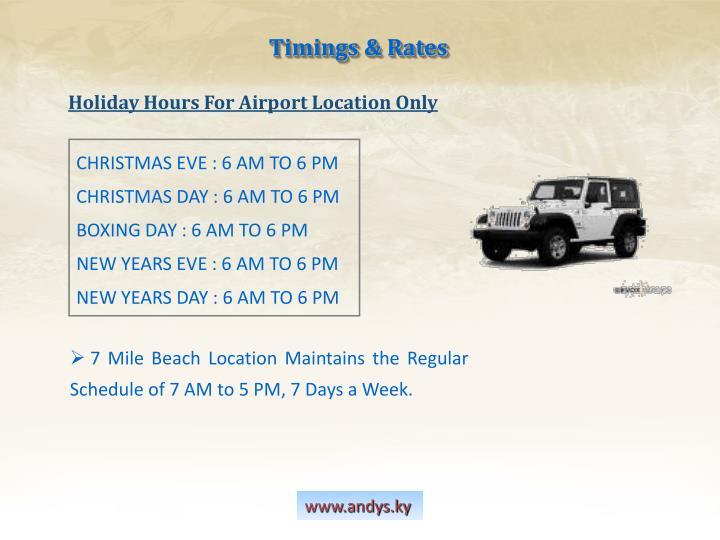 Timings & Rates