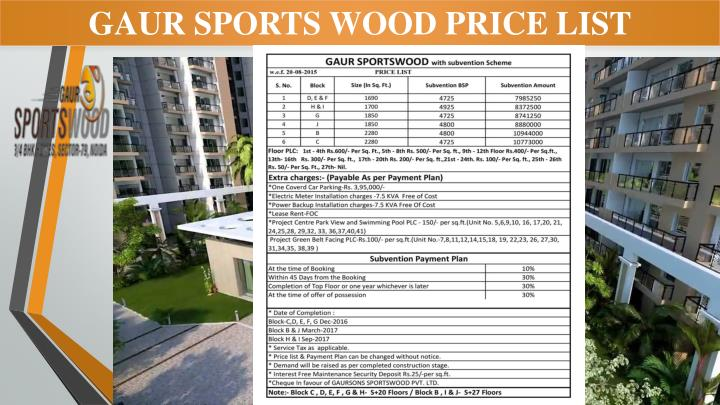 GAUR SPORTS WOOD PRICE LIST