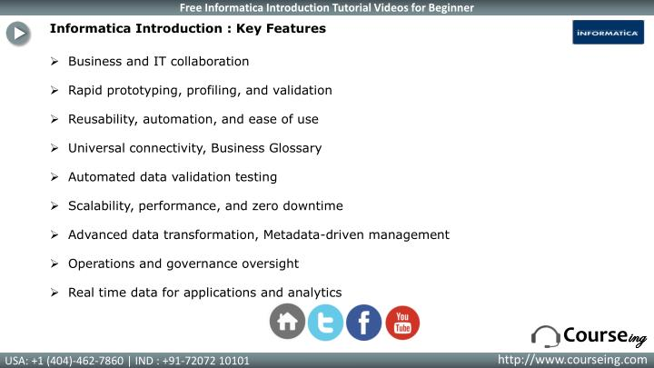 Informatica Introduction : Key Features