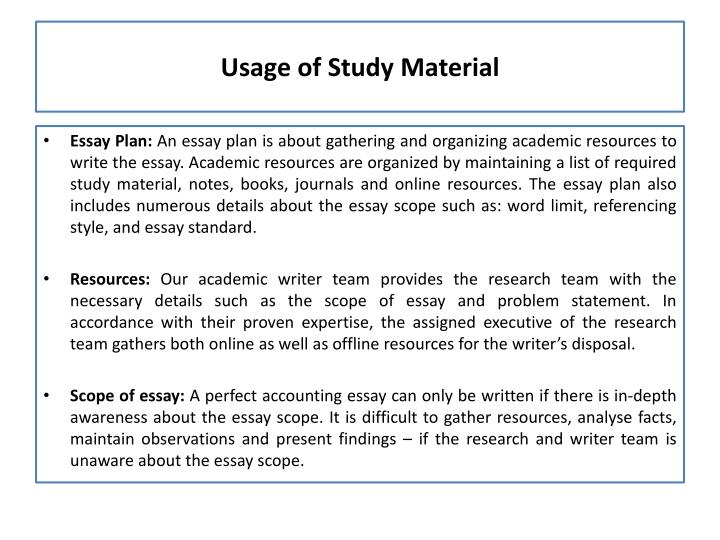 Usage of Study Material