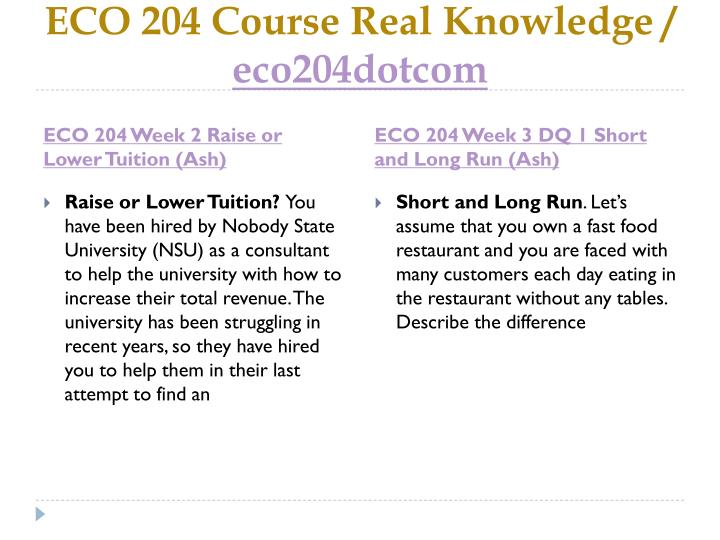 ECO 204 Course Real Knowledge /