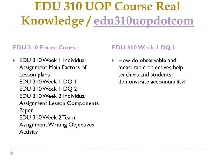 EDU 310 UOP Course Real Knowledge /