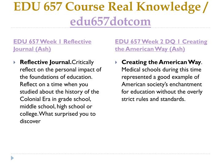 EDU 657 Course Real Knowledge /