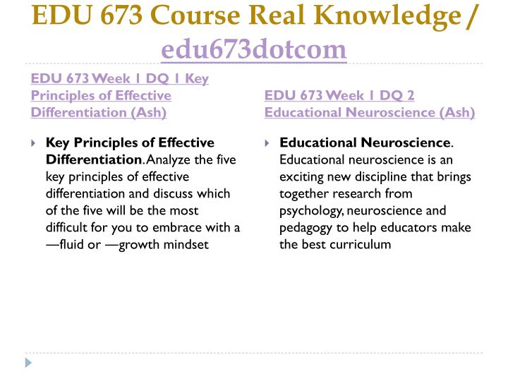 EDU 673 Course Real Knowledge /