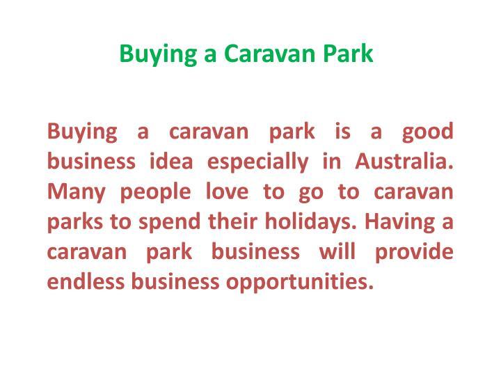 Buying a Caravan Park