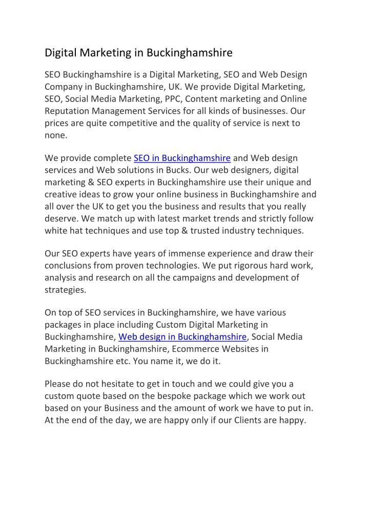 Digital Marketing in Buckinghamshire