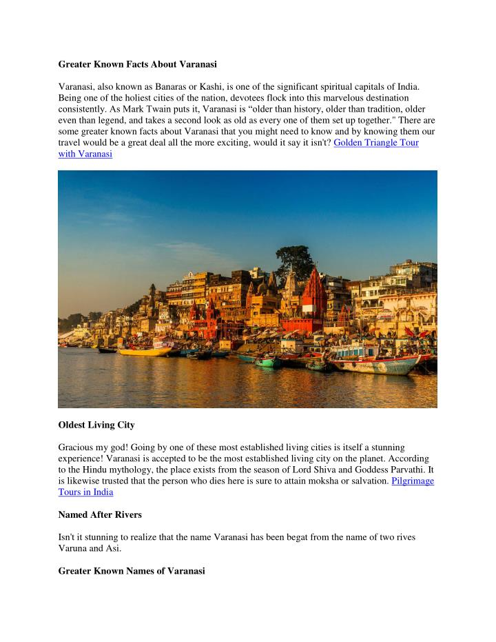 Greater Known Facts About Varanasi