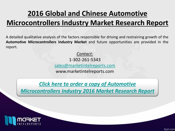 2016 Global and Chinese Automotive Microcontrollers Industry Market Research Report