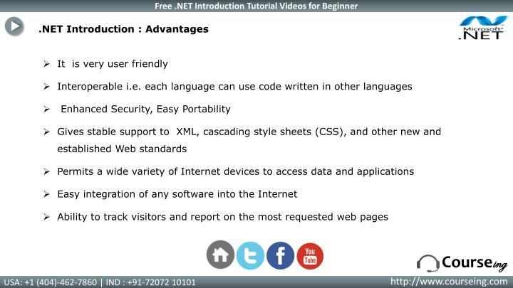 .NET Introduction : Advantages