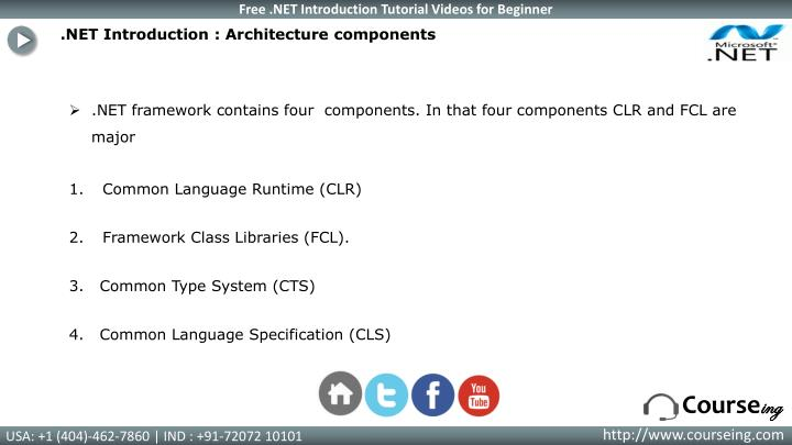 .NET Introduction : Architecture components