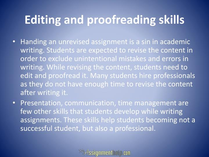 Editing and proofreading skills