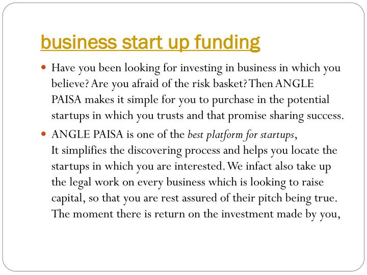 business start up funding