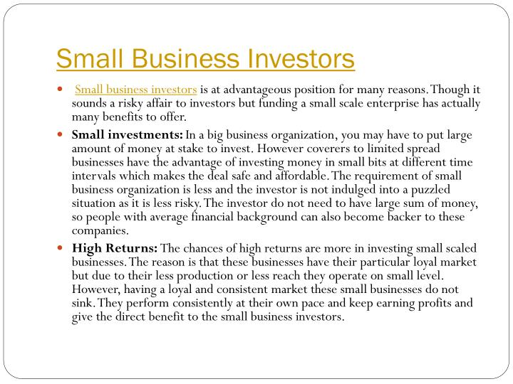 Small Business Investors