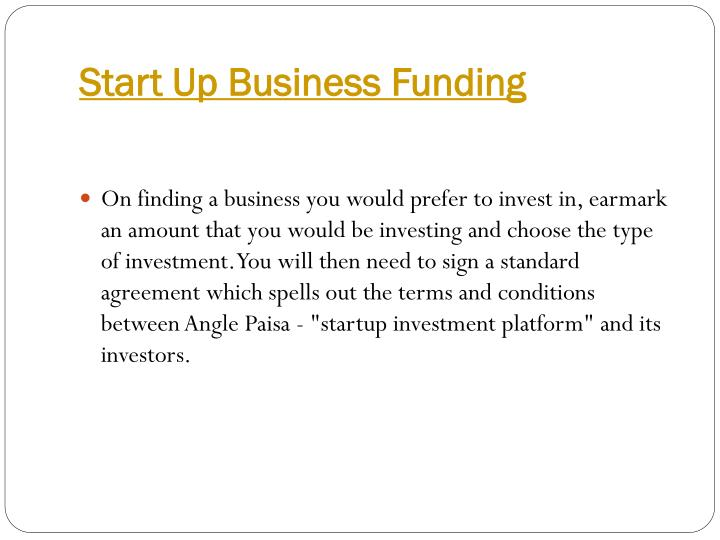 Start Up Business Funding