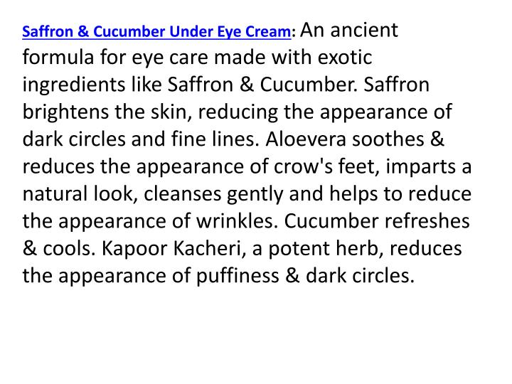 Saffron & Cucumber Under Eye