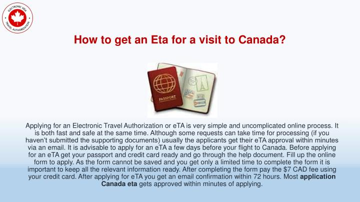 How to get an Eta for a visit to Canada?
