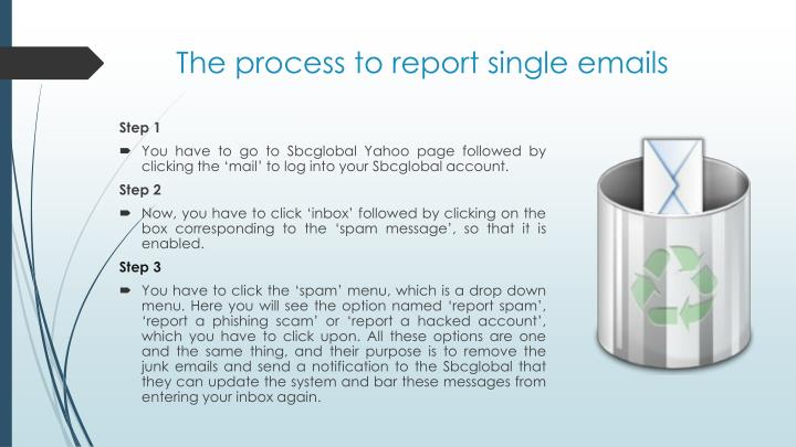 The process to report single emails