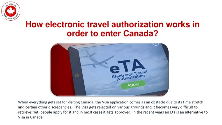 How electronic travel authorization works in order to enter canada