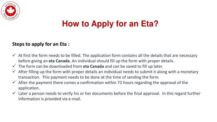 How to Apply for an Eta?