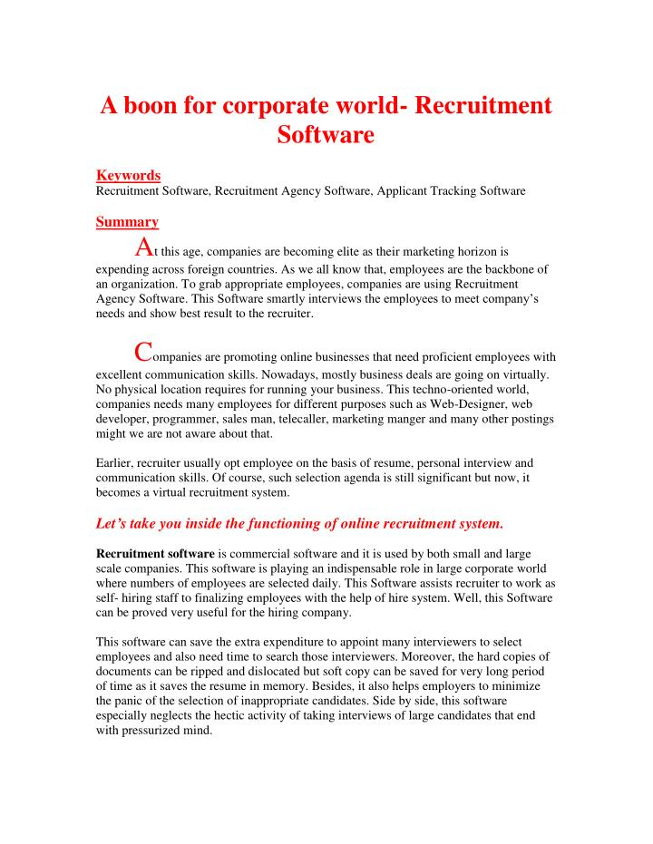 A boon for corporate world- Recruitment