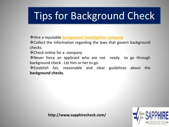 Tips for Background Check