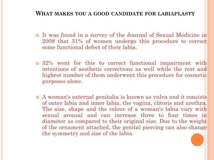 What makes you a good candidate for labiaplasty
