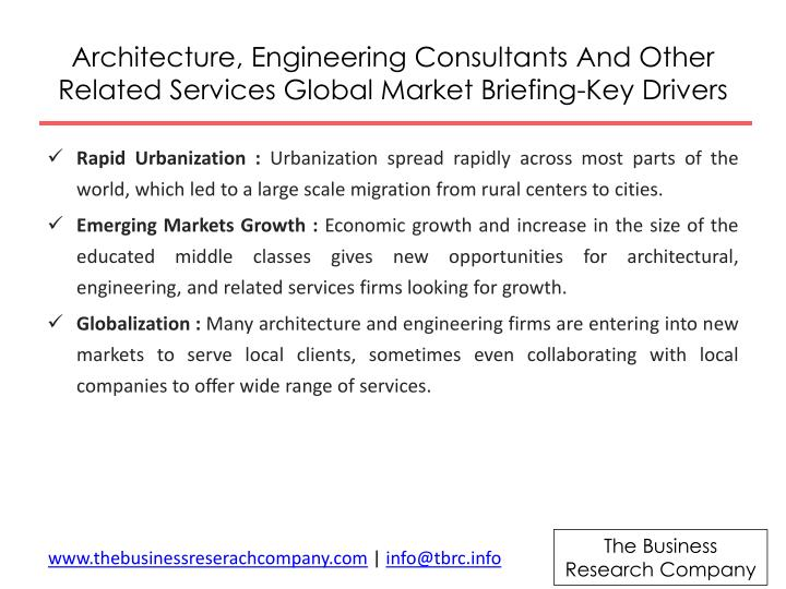 Architecture engineering consultants and other related services global market briefing key drivers