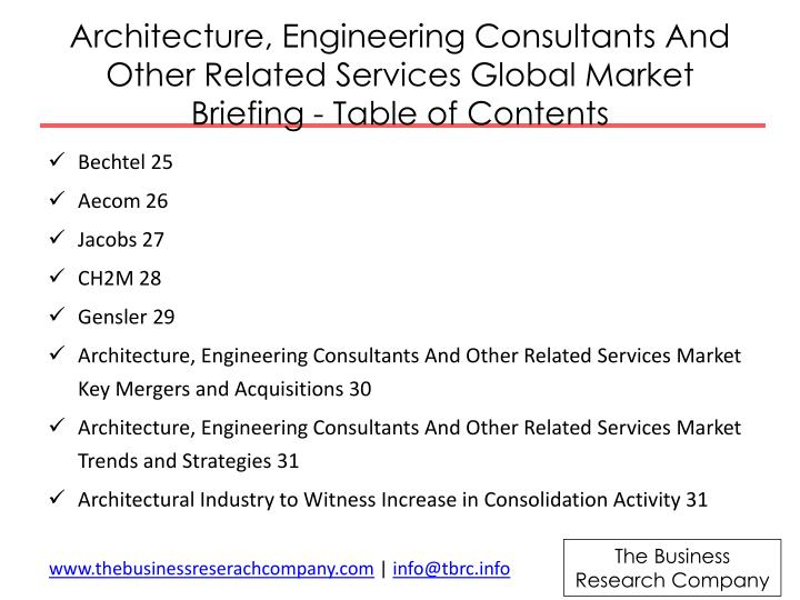 Architecture, Engineering Consultants And Other Related Services Global Market Briefing