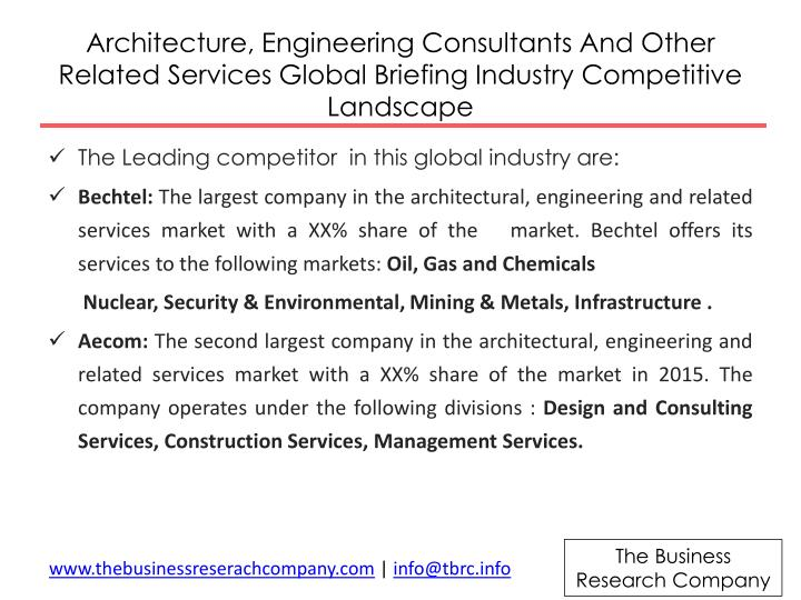 Architecture, Engineering Consultants And Other Related Services