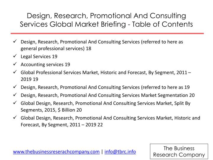 Design, Research, Promotional And Consulting Services Global Market Briefing