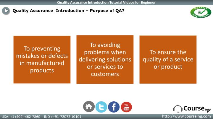 Quality Assurance  Introduction –