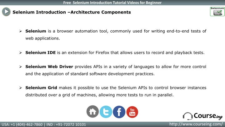 Selenium Introduction –Architecture Components