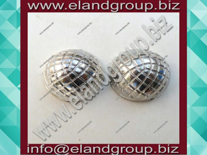 Button collar dome silver plated