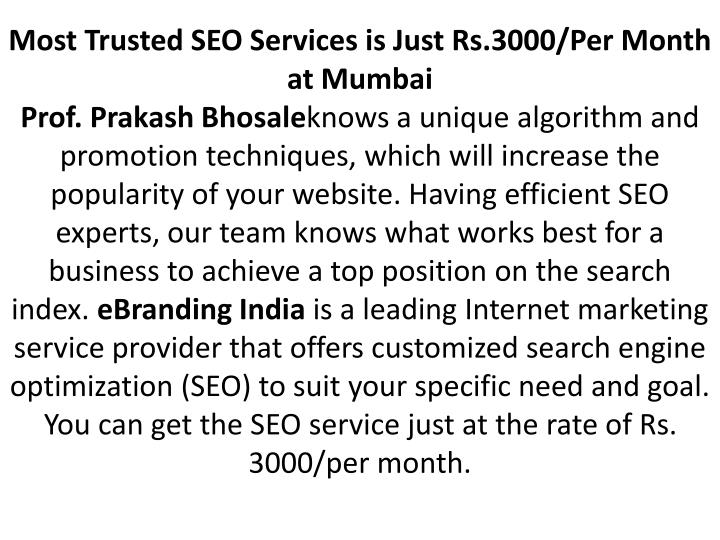 Most Trusted SEO Services is Just Rs.3000/Per Month at Mumbai