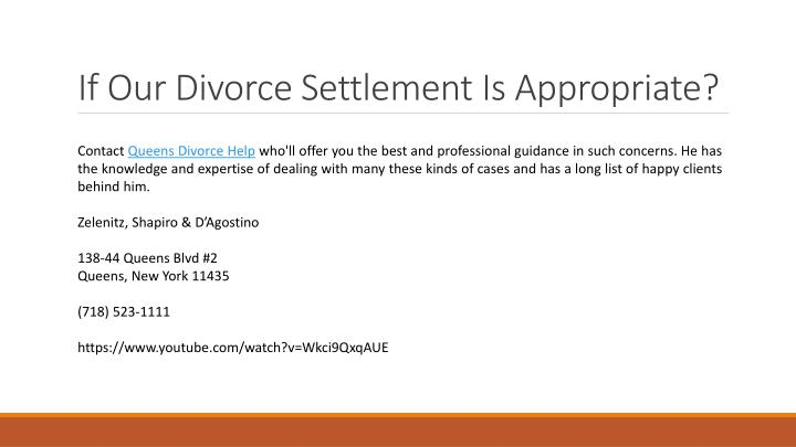 If Our Divorce Settlement Is Appropriate?