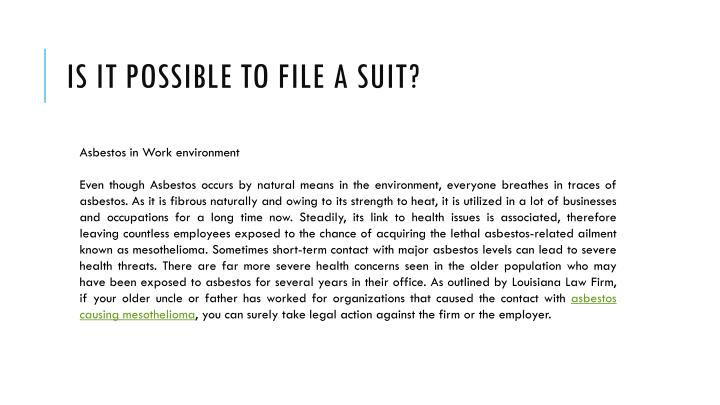Is it possible to file a suit1