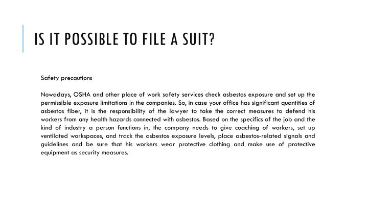 Is It Possible To File a suit?