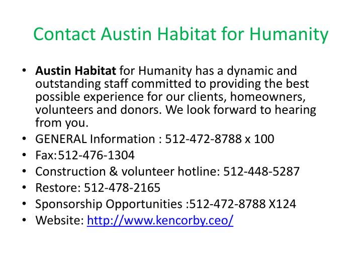 Contact Austin Habitat for Humanity
