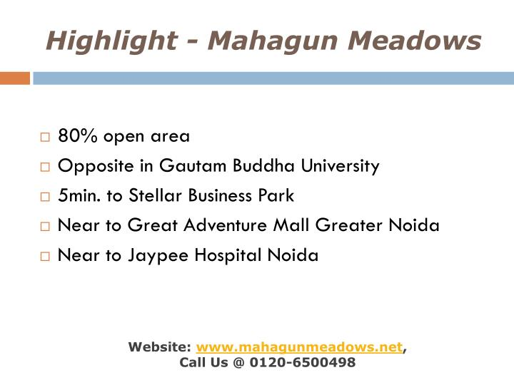 Highlight mahagun meadows