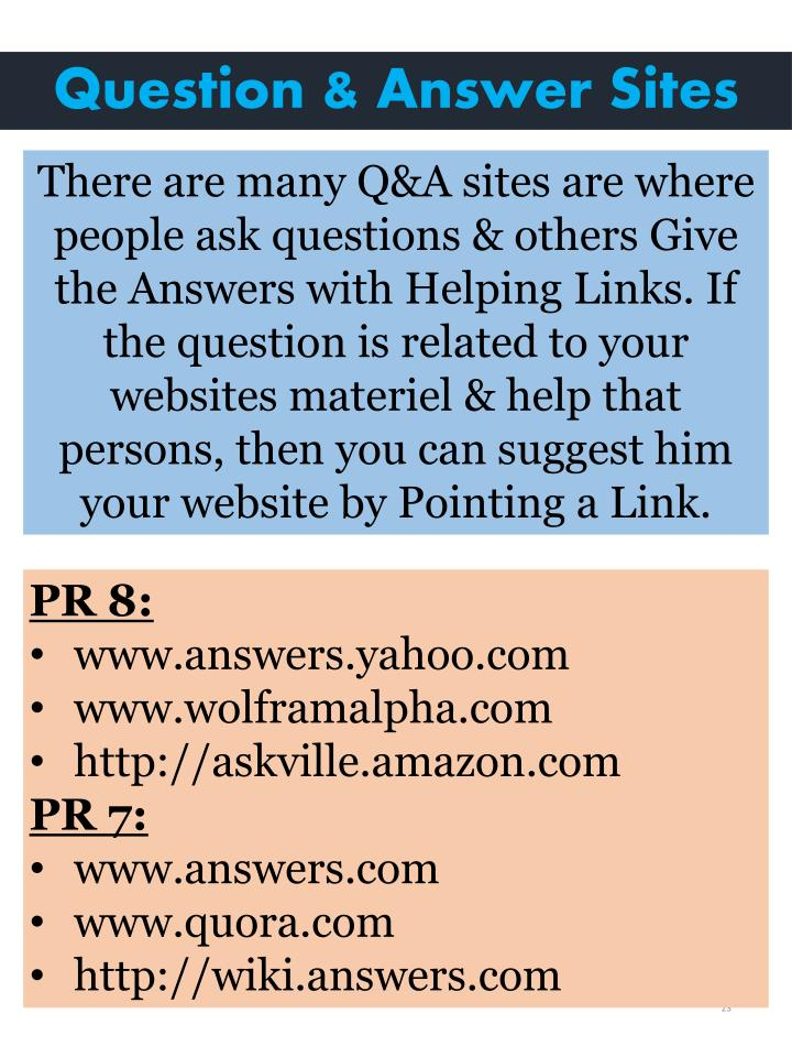 Question & Answer Sites