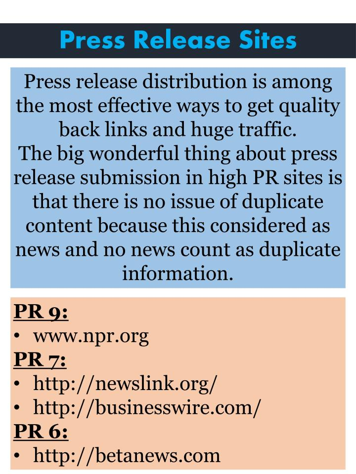 Press Release Sites