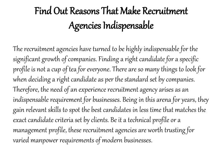 Find Out Reasons That Make Recruitment